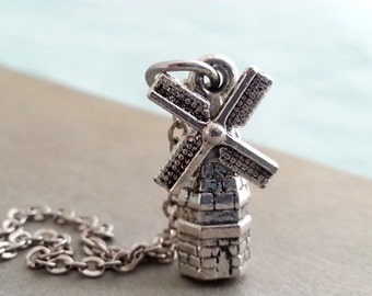 Silver Windmill  Necklace. Windmill Pendant. Layering Layered. Windmill Pendant. Windmill Charm.