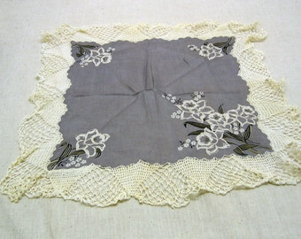Daffodil Printed Cotton Handkerchief, Vintage Lace Edged, Charcoal Grey