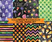 Watercolor Halloween Digital Paper, Halloween Backgrounds for Commercial Use, Instant Download Halloween Digital Paper Pack