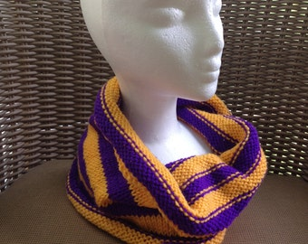 Cozy Cowl in Purple and Gold Acrylic -- for Yoga, Spiritwear, and Activewear