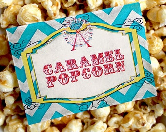 Vintage Carnival Party Labels - INSTANT DOWNLOAD - Editable & Printable Party Decorations by Sassaby Parties