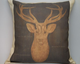 Deer Quote Burlap and Canvas Accent Pillow Decorative Shabby Chic Lodge Cabin Rustic
