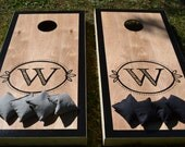 MEMORIAL DAY SALE Event Monogram Wedding Cornhole Board Set with Bags for Your Wedding Reception -  Yard Game Backyard Rustic Party Fun