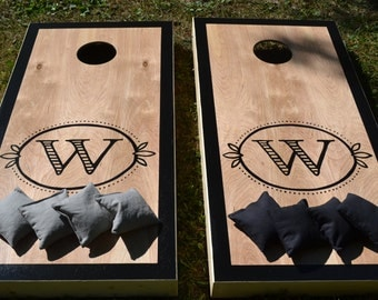 Monogram Wedding Cornhole Board Set with Bags for Your Wedding Reception -  Yard Game Backyard Rustic Party Fun