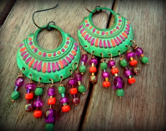 30% OFF SALE Hand Painted Patina Sparkle Rustic Tribal Hot Pink Magenta Orange Green Chandelier Colorful Earrings, Hippie Gypsy Boho Jewelry
