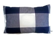 Navy Check Pillow Indigo Large Buffalo Check Pillow Oversized Navy Check