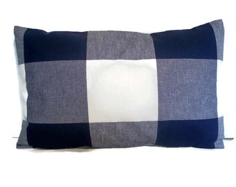 Navy Check Pillow Indigo Large Buffalo Check Pillow 1-10x16, alotm