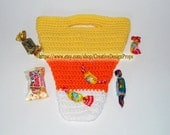 Crochet Candy Corn Bag Halloween Trick or Treat handbag, Kids Toys, Gift, Baby Shower, Birthday Party