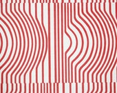 Retro Wallpaper by the Yard 70s Vintage Wallpaper - 1970s Red and White Optical Illusion Design