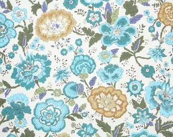 Retro Wallpaper by the Yard 70s Vintage Wallpaper – 1970s Aqua and Tan Floral Chintz on White