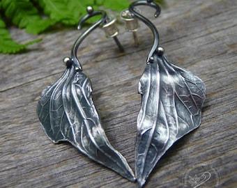 Fairy Stud Silver Earrings, Post Earrings, Silver Leaves Earrings, Sterling Silver Studs, Handmade, Nature Jewelry, Metal Clay Earrings