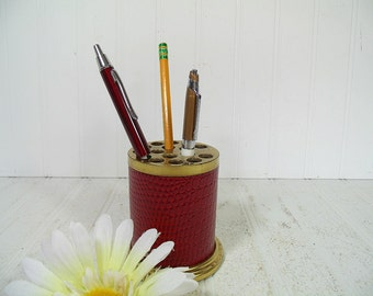 Vintage Red Reptile Leatherette Brass Metal Pen & Pencil Cup - Mad Men Era Retro Round Office Desk Industrial Library Accent / Hat Pin Stand