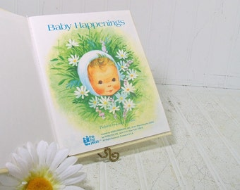 Vintage Baby Happenings Memento Book - Retro New Baby Growth Special Events Book for Recording Step By Step - New Old Stock Never Used Book