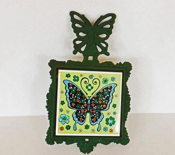 Vintage Trivet Iron Trivet Kitchen Decor Butterfly Decor