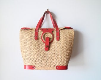 Vintage Tote with Red Genuine Leather Trims