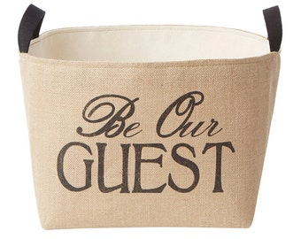 Be Our Guest Burlap Storage Bin