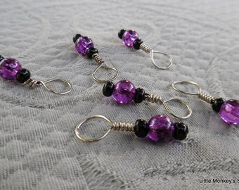 "Stitchmarkers for knitting, set of  6, ""Plum"", up to 6 mm needles"