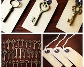 Keys to Happiness - 100 Antique Bronze Skeleton Keys & 100 Kraft Luggage Tags - Wedding Skeleton Keys, Escort Card Vintage Keys