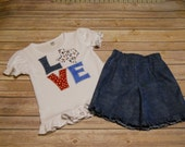 LOVE Texas Tee & Short Set / GIRL'S Set / machine appliqued-embroidered design / Size 4 / ready to ship