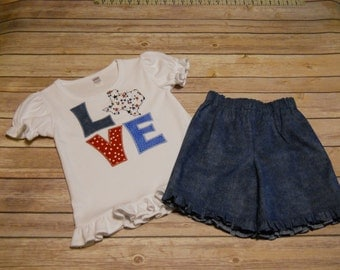 Designer Kids Clothes, Size 4T, Girl's Ruffled Tee & Short Set, LOVE Texas, Patriotic, Memorial Day, July 4th, Veteran's Day, State of Texas