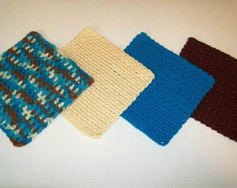 Dishcloths - Set of 4 in Turquoise, Brown, and Beige