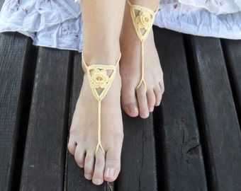 Yellow Barefoot Sandals Cotton Beads Yoga Nude Shoes Bridal Sandals Feet Jewelry Wedding Beach Sandals Bridal Toe Shoes - SC0012F