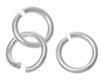 50 Silver Plated Open Jump Rings 8mm x 1.2mm, 16 gauge wire, copper base with silver plating,  jum0151a