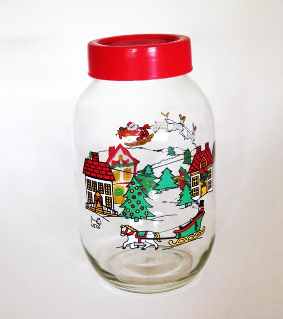Vintage Christmas Glass Gallon Jar 1 Gallon 3liter Storage