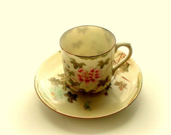 Vintage Old Nippon or Kutani Handpainted Eggshell Porcelain Demitasse Cup and Saucer Gold Detailed Peony & Butterfly