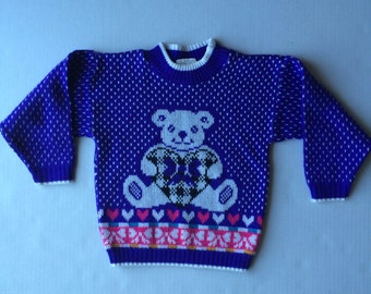Awesome 80's Purple Teddy Bear Sweater (4t)