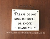 Don't Ring or Knock Door Sign