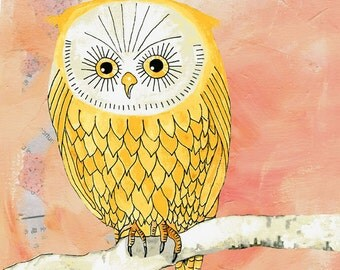 Yellow owl, watercolour painting, Giclee print, Animal painting, owl illustration