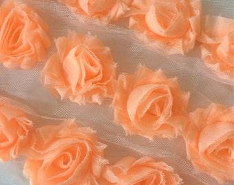 "Peach Petite Shabby Rose Trim 1.5"" small Shabby Flowers Mini Shabby Chiffon Flowers Chiffon Flower Shabby Chic Trim Wholesale 3cm #908"