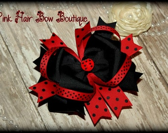 Boutique Hairbow, Ladybug Hair Bow Boutique Style lady bug birthday hair bow