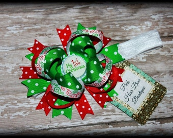 Baby's First Christmas Hair Bow Head Band , First Christmas Hair Bow Red white and green - First Christmas Bow - Baby's first Christmas