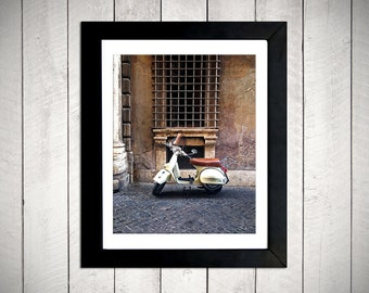 Yellow Vespa photography print - Rome Italy 8x10 DIGITAL DOWNLOAD