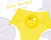 diy diaper printable baby shower invitation template digital file yellow - nappy baby shower invite kit baby boy or girl instant download