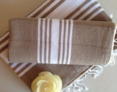 Natural Turkish BATH and Head Towel Set: Handmade Peshtemal and Peshkir, SPA set, Hammam, for her or him, spa, yoga, bathroom, beach, Beige