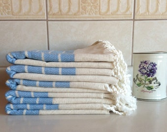 Christmas gift , Premium Turkish Towel, Peshtemal, guest towel, Bath and Body, Hammam, for her, Wedding, Natural Linen, spa, yoga, baby blue