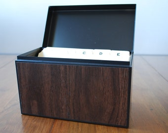 Vintage Medium Walnut Woodgrain Globe - Weis  Metal Card File Box  - Urban Industrial - Organization