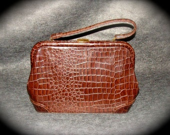 Mid Century Purse Brown Faux Crocodile Vinyl by Celestial for Markay