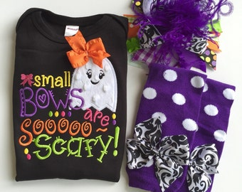 Baby Girl outfit for Halloween bodysuit, leg warmers, OTT bow - Small Bows Are Sooo Scary - EXCLUSIVE ghost design