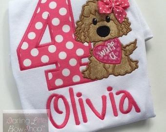 Puppy shirt or bodysuit for birthday or everyday -- Wuff You -- shirt for girls with adorble puppy and hot pink polka dot