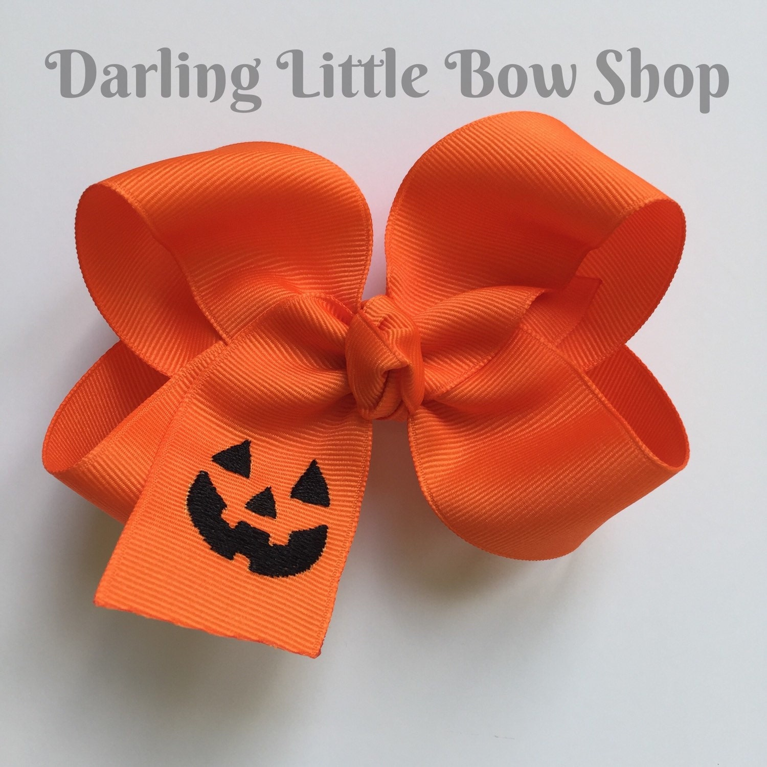 Halloween Bow Pumpkin Bow Large Orange Boutique Bow