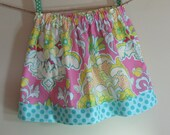 Girls Skirt Twirl Skirt Modern Floral Damask Pink Blue Green Yellow Blue Polka Dots