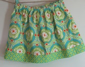 Girls Skirt Twirl Skirt Green Floral Skirt Modern Skirt Red Yellow Green Ready to Ship!