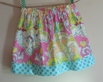 Girls Skirt Twirl Skirt Modern Floral Damask Pink Blue Green Yellow Blue Polka Dots