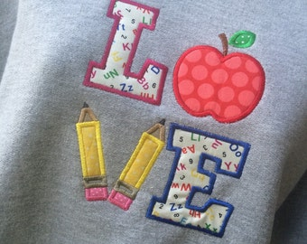 School/teacher LOVE appliquéd sweatshirt abc pencils apple