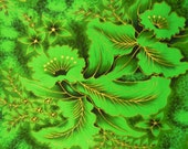 Fabric Vintage Hawaiian cotton  by von Hamm Young (VHY) lush green plants with gold detailing  3 yards