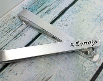 Personalized Tie Clip - Hand Stamped Personalized Tie Bar -  Custom Tie Clip - Men's Wedding Accessories Tie Bar for Him (001)